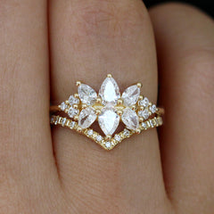 Diamond Cluster Engagement Ring Set - The Flora Ring Set Up Close