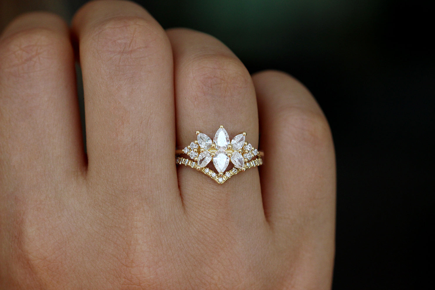 Diamond Cluster Engagement Ring Set - The Flora Ring Set on Hand Other Angle