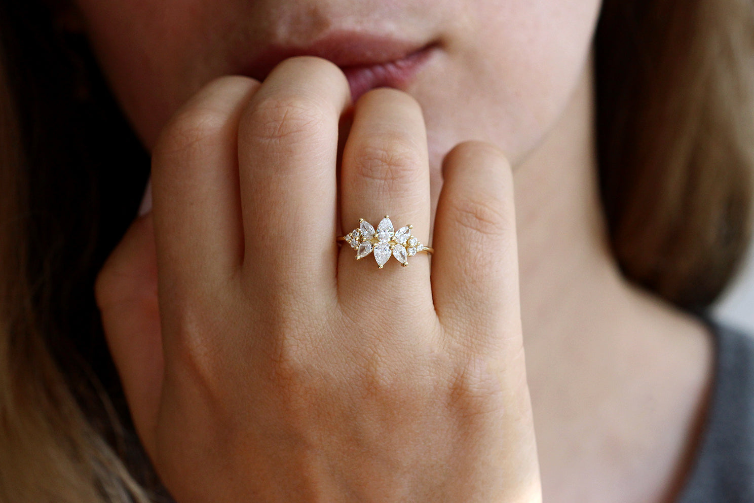 Diamond Cluster Engagement Ring Set - The Flora Ring Set