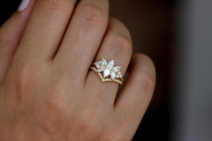 Diamond Cluster Engagement Ring Set - The Flora Ring Set on Hand