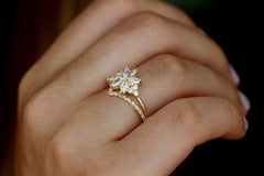 Diamond Cluster Engagement Ring Set - The Flora Ring Set Side View