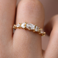 Diamond Cluster Engagement Ring with Hexagon, Trapeze, and Kite on Hand detail view up close