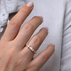 Diamond Cluster Engagement Ring with Hexagon, Trapeze, and Kite on Hand front shot