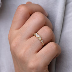 Diamond Cluster Engagement Ring with Hexagon, Trapeze, and Kite on Hand lower angle view