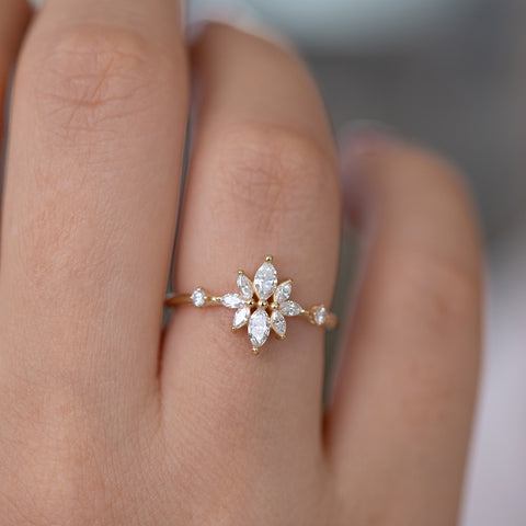 Diamond Flower Cluster Ring on finger
