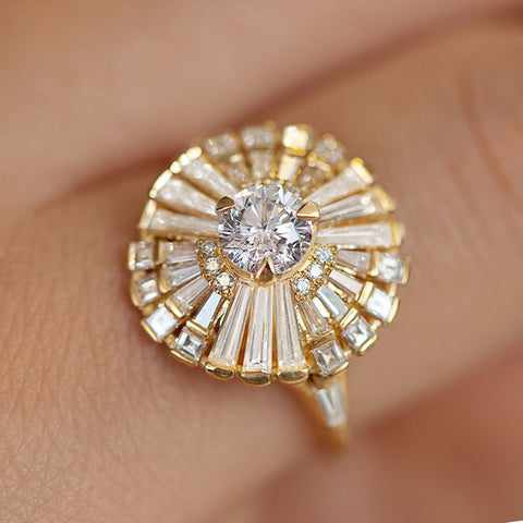 Diamond Snowflake Ring with Tapered Baguette Diamonds on Hand Detail Shot
