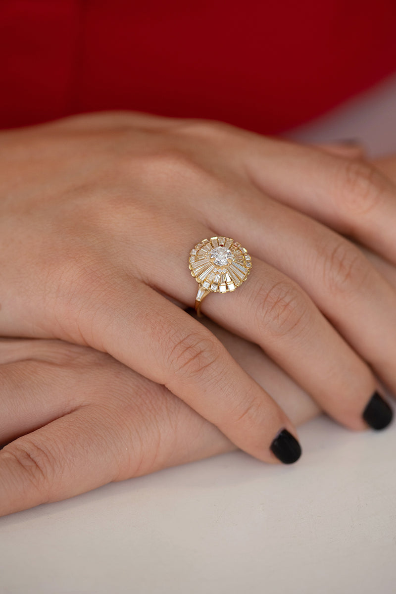 Diamond Snowflake Ring with Tapered Baguette Diamonds on Hand Frontal