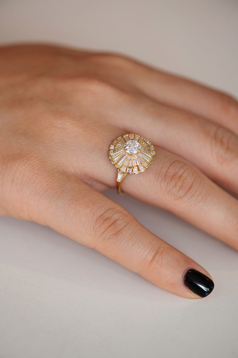 Diamond Snowflake Ring with Tapered Baguette Diamonds on Hand Side Angle