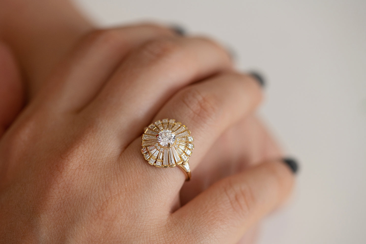 Diamond Snowflake Ring with Tapered Baguette Diamonds on Hand Detail View of Front