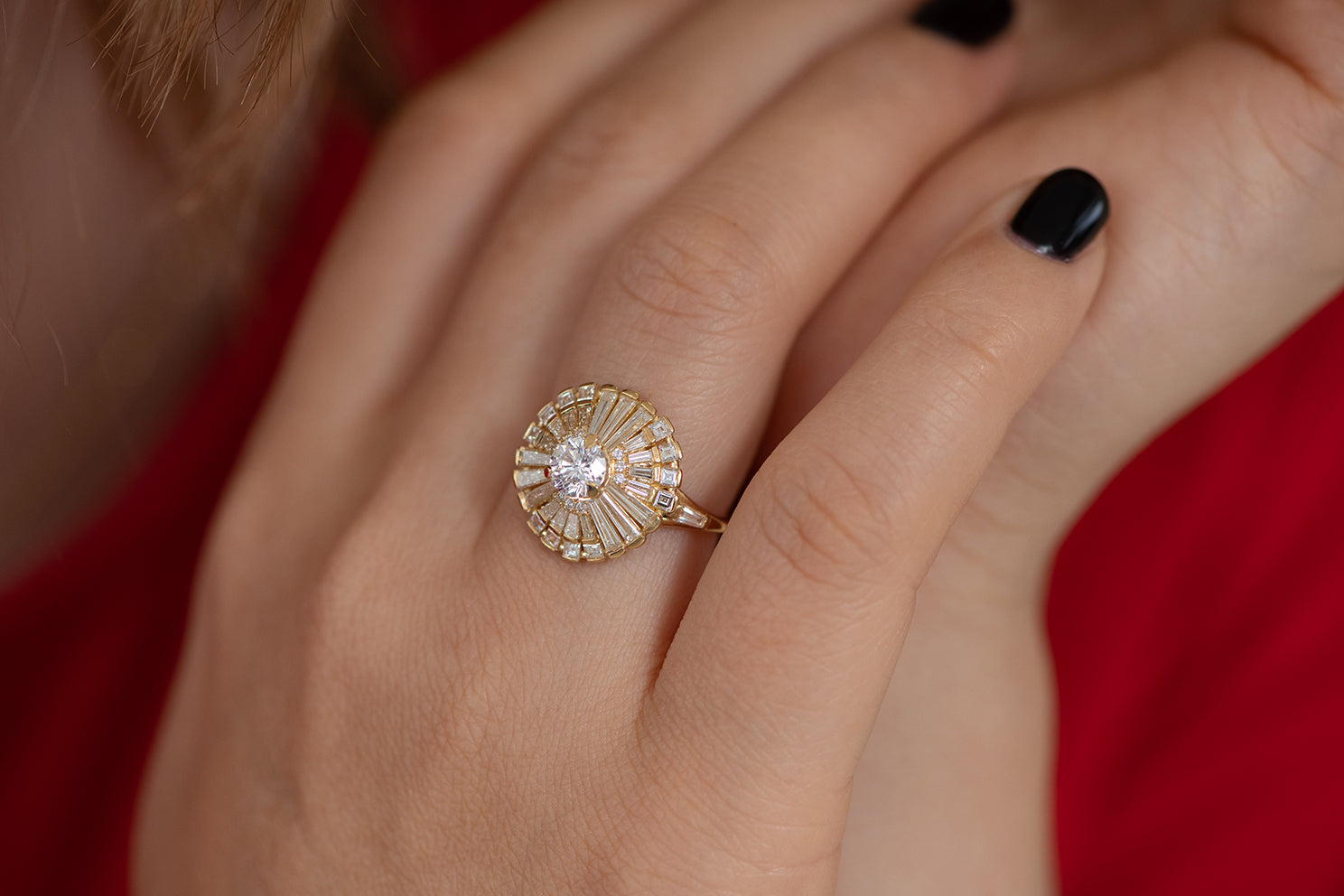 Diamond Snowflake Ring with Tapered Baguette Diamonds on Hand Other Detail Shot