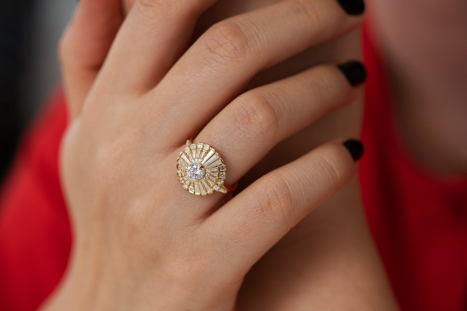 Diamond Snowflake Ring with Tapered Baguette Diamonds on Hand Top View