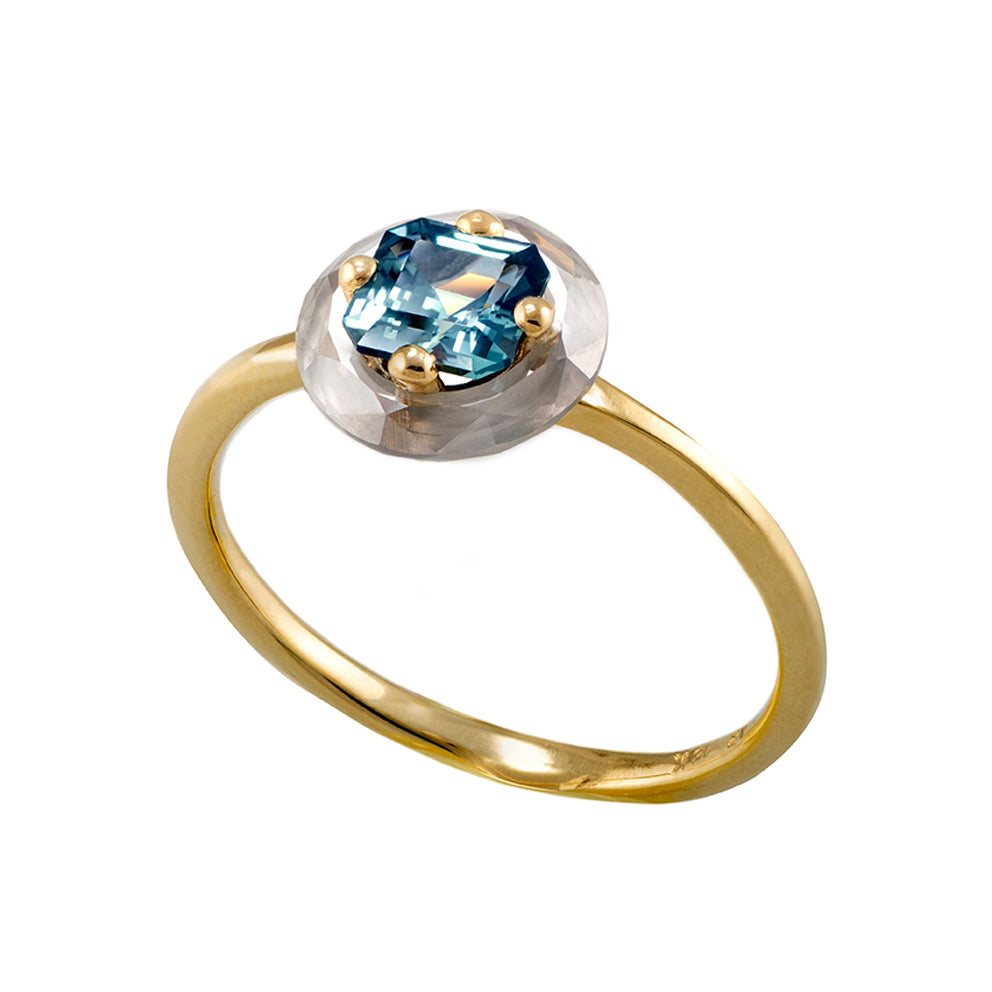 Diamond Sphere Ring with Asscher Cut Teal Sapphire - OOAK1