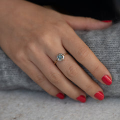 Diamond Sphere Ring with Asscher Cut Teal Sapphire - OOAK2