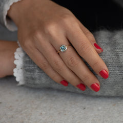 Diamond Sphere Ring with Asscher Cut Teal Sapphire - OOAK3