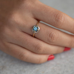 Diamond Sphere Ring with Asscher Cut Teal Sapphire - OOAK4