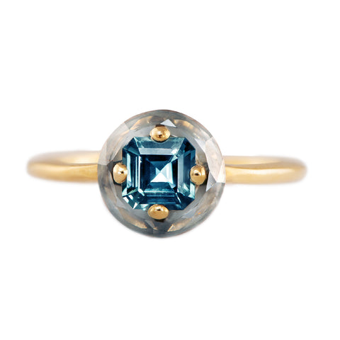 Diamond Sphere Ring with Asscher Cut Teal Sapphire - OOAK
