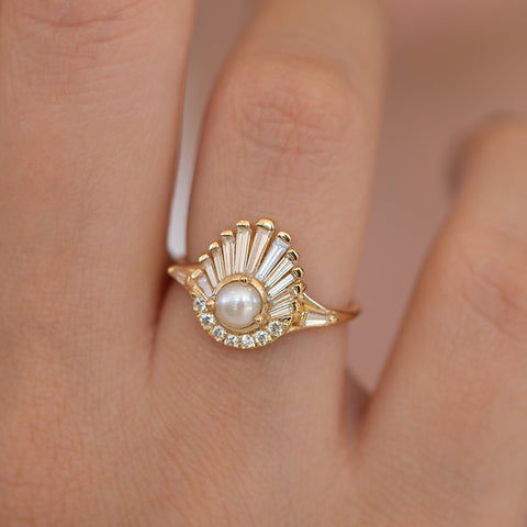 Diamond and Pearl Engagement Ring - Baguette Diamond Shell Ring on Hand Up Close