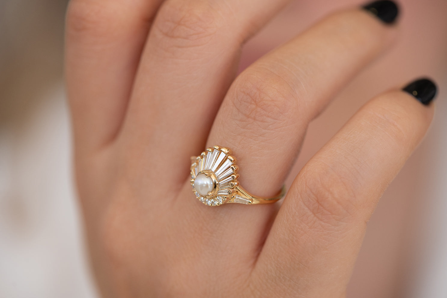 Diamond and Pearl Engagement Ring - Baguette Diamond Shell Ring on Hand side view