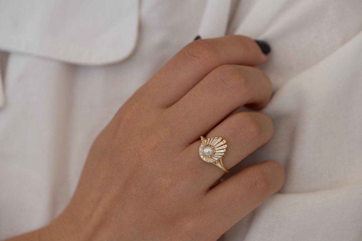 Diamond and Pearl Engagement Ring - Baguette Diamond Shell Ring on Hand in Shadow