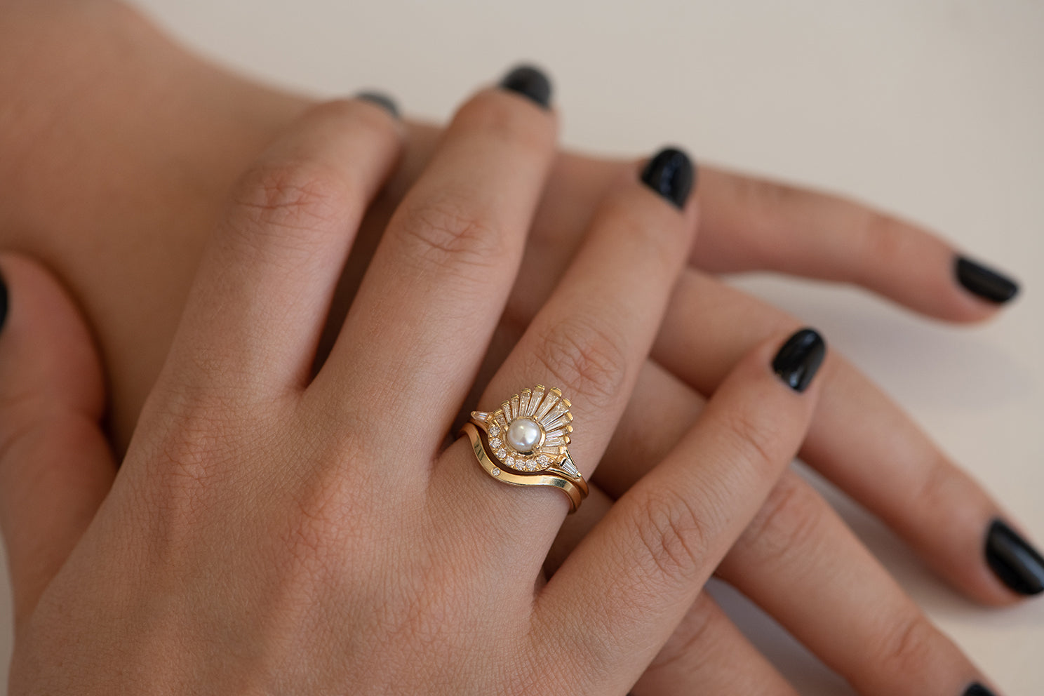 Diamond and Pearl Engagement Ring - Baguette Diamond Shell Ring on Hand in Set