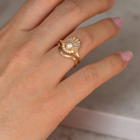 Diamond and Pearl Engagement Ring - Baguette Diamond Shell Ring1