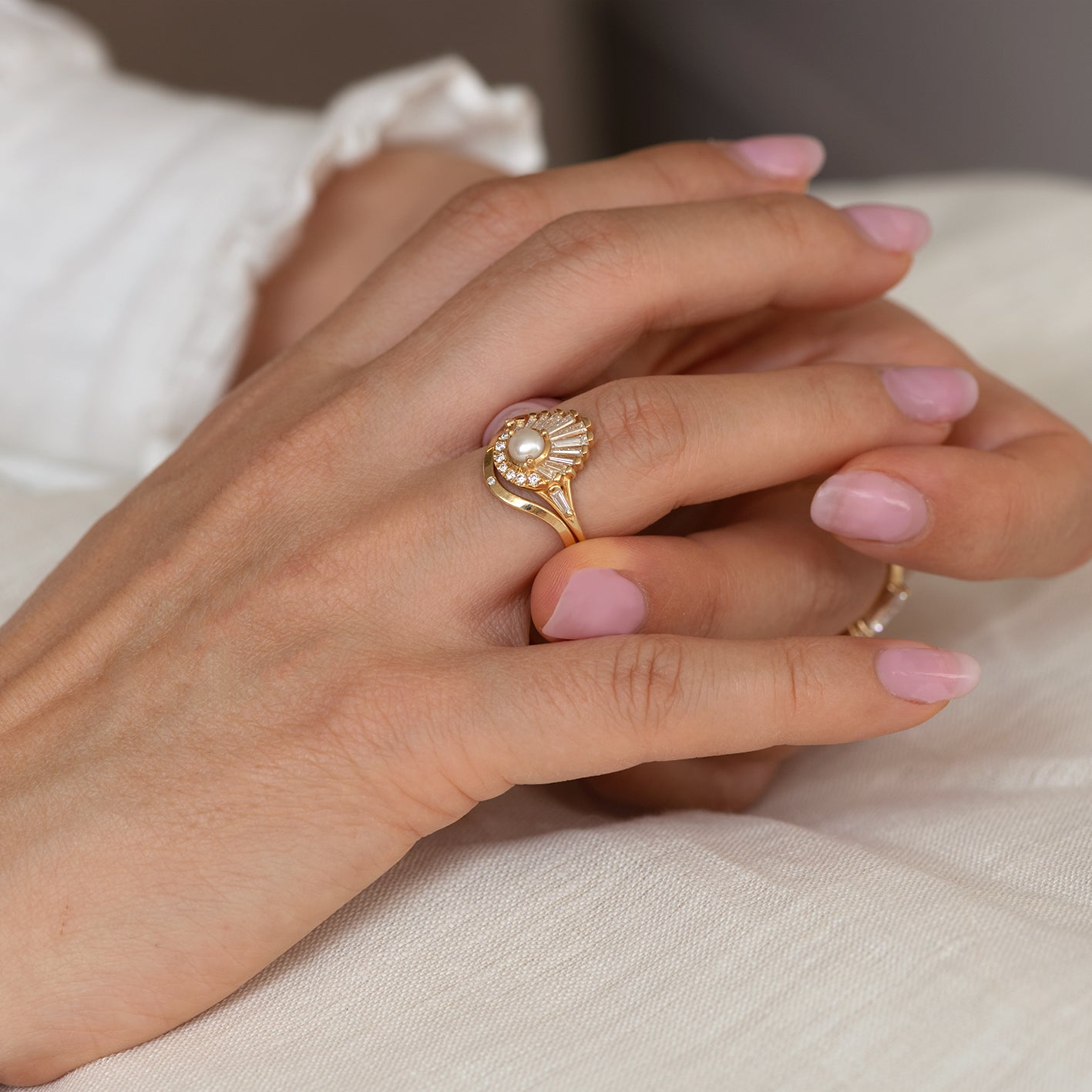 Big art ring with Baroque pearl on the seashell Seashell ring Contemporary art ring