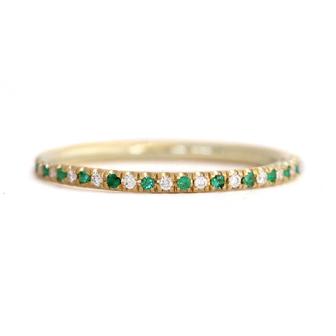 Emerald And Diamond Eternity Wedding Band