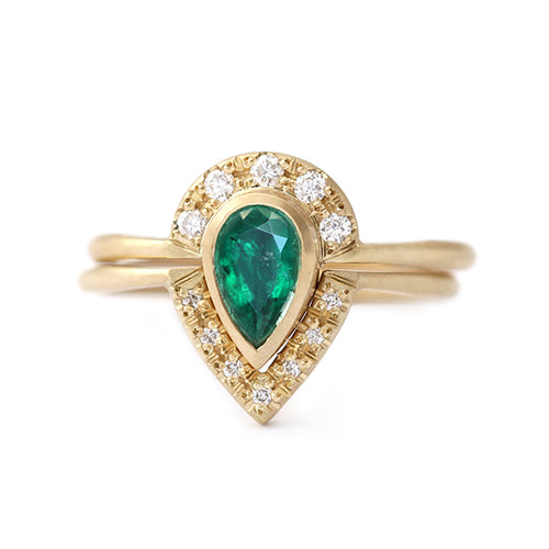 Emerald Bridal Wedding Ring Set