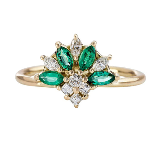 Emerald-and-Diamond-Cluster-Engagement-Ring-closeup
