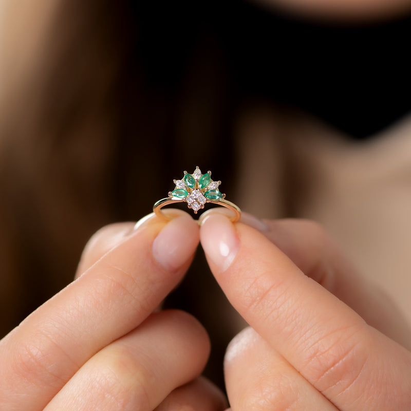 Emerald-and-Diamond-Cluster-Engagement-Ring-side-shot