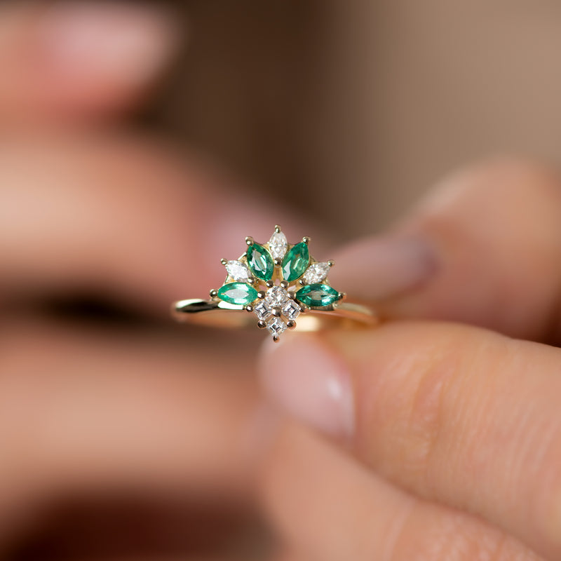 Emerald-and-Diamond-Cluster-Engagement-Ring-top-shot