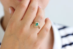 Emerald Engagement Ring Set on hand