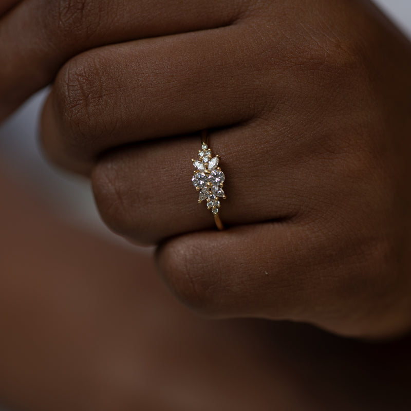 Engagement-Ring-with-a-Cluster-of-Diamonds-Small-Flora-Ring-top-shot