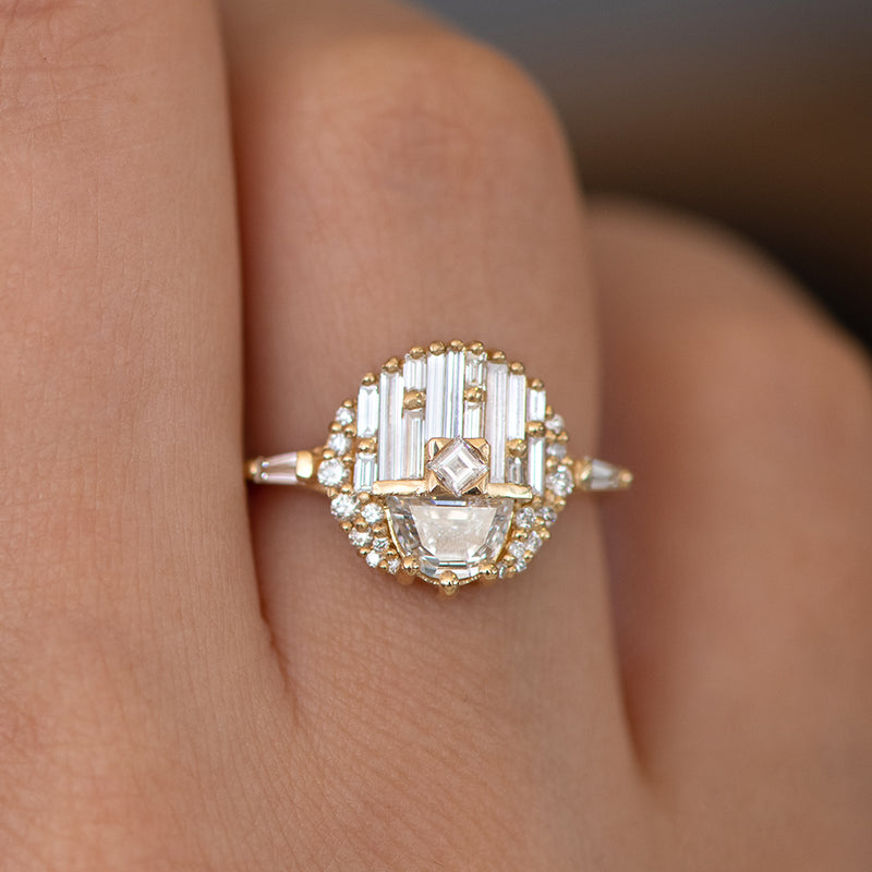 Engagement Ring with Half Moon Diamond - The Aztec Temple Ring on Hand-1