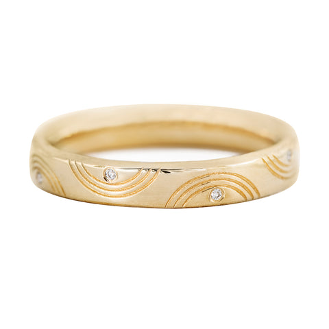 Engraved Diamond Ring - Wavy Wedding Band