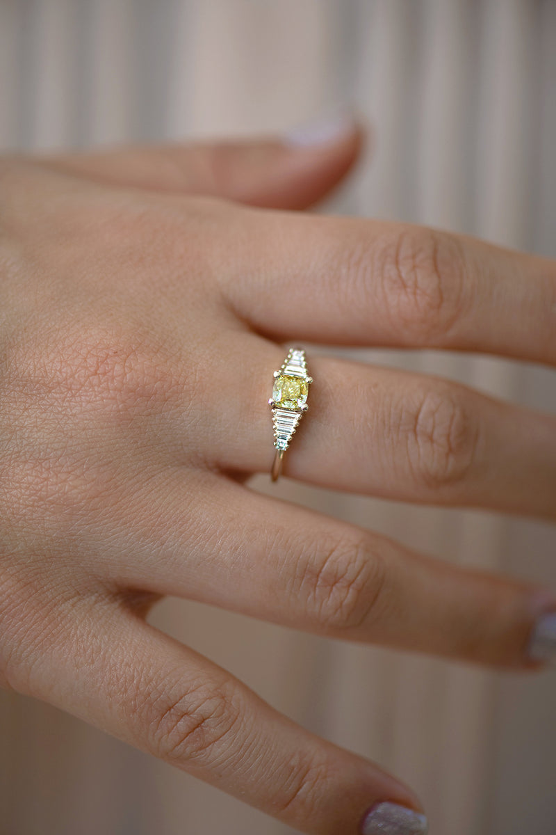 Fancy Yellow Diamond Ring close up
