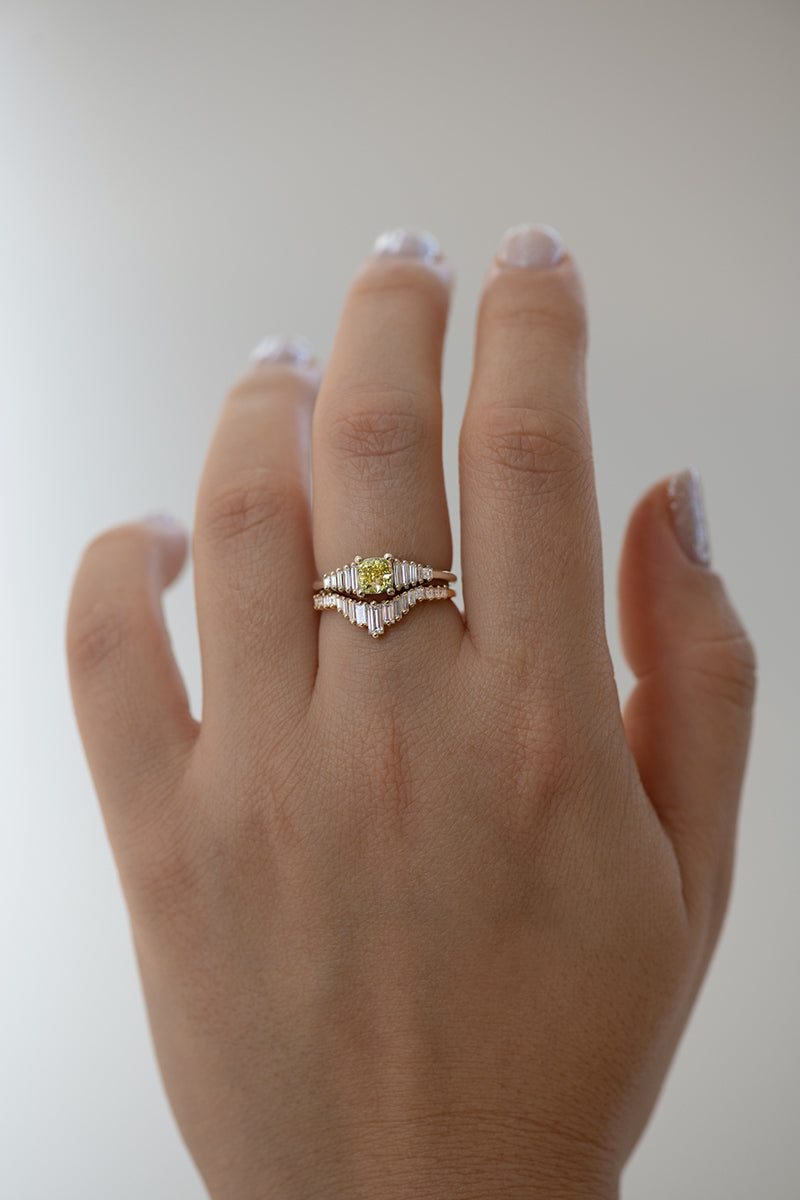 Fancy Yellow Diamond Ring on finger