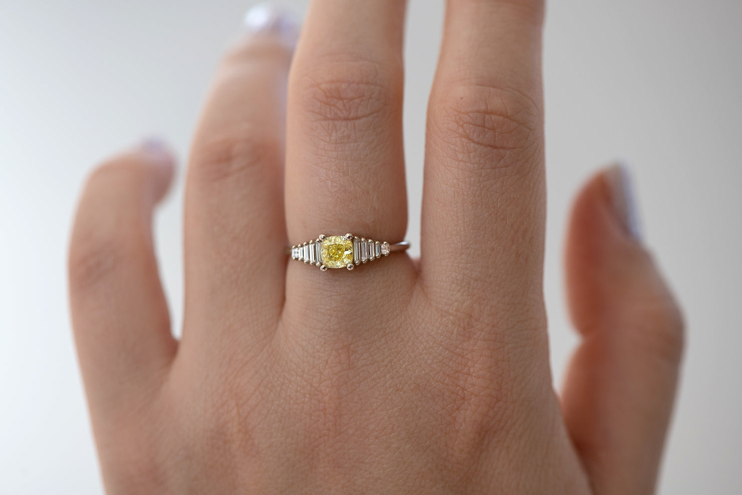 Fancy Yellow Diamond Ring side view