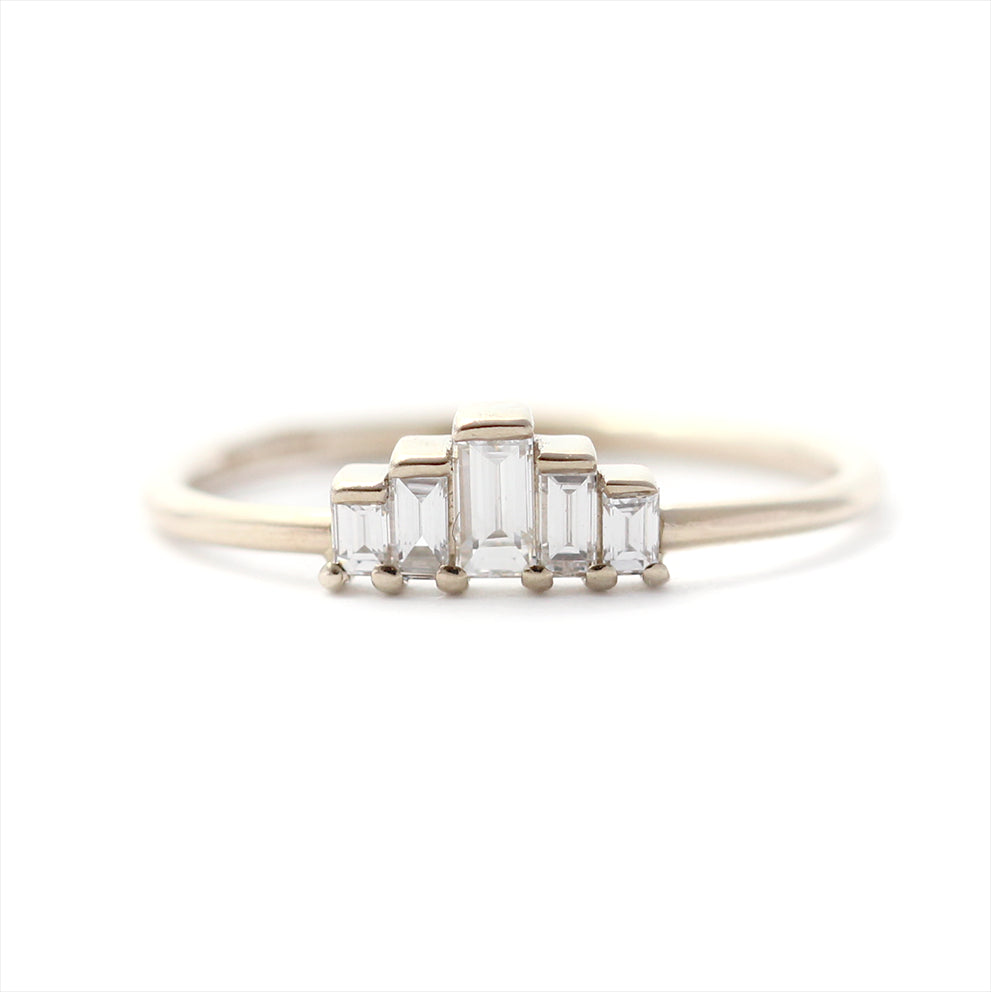 white baguette wedding gold tapered diamond rings engagement channel set tilt band