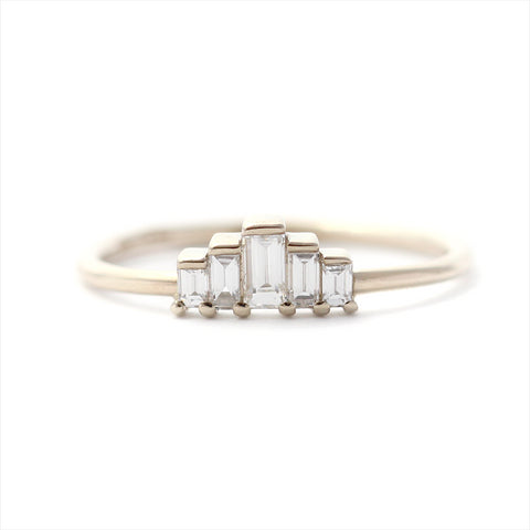Five Baguette Diamonds Engagement Ring