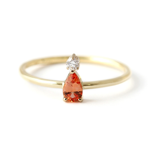 OOAK Orange Sapphire Engagement Ring with Little Diamond