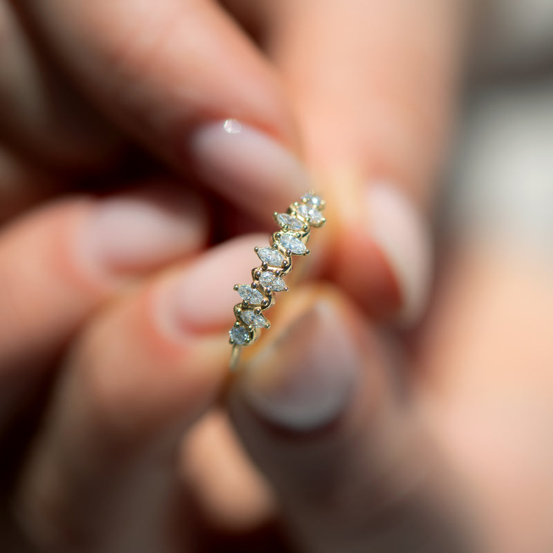 Floating-Marquise-Cut-Cluster-Ring-with-Nine-Diamonds-top-shot