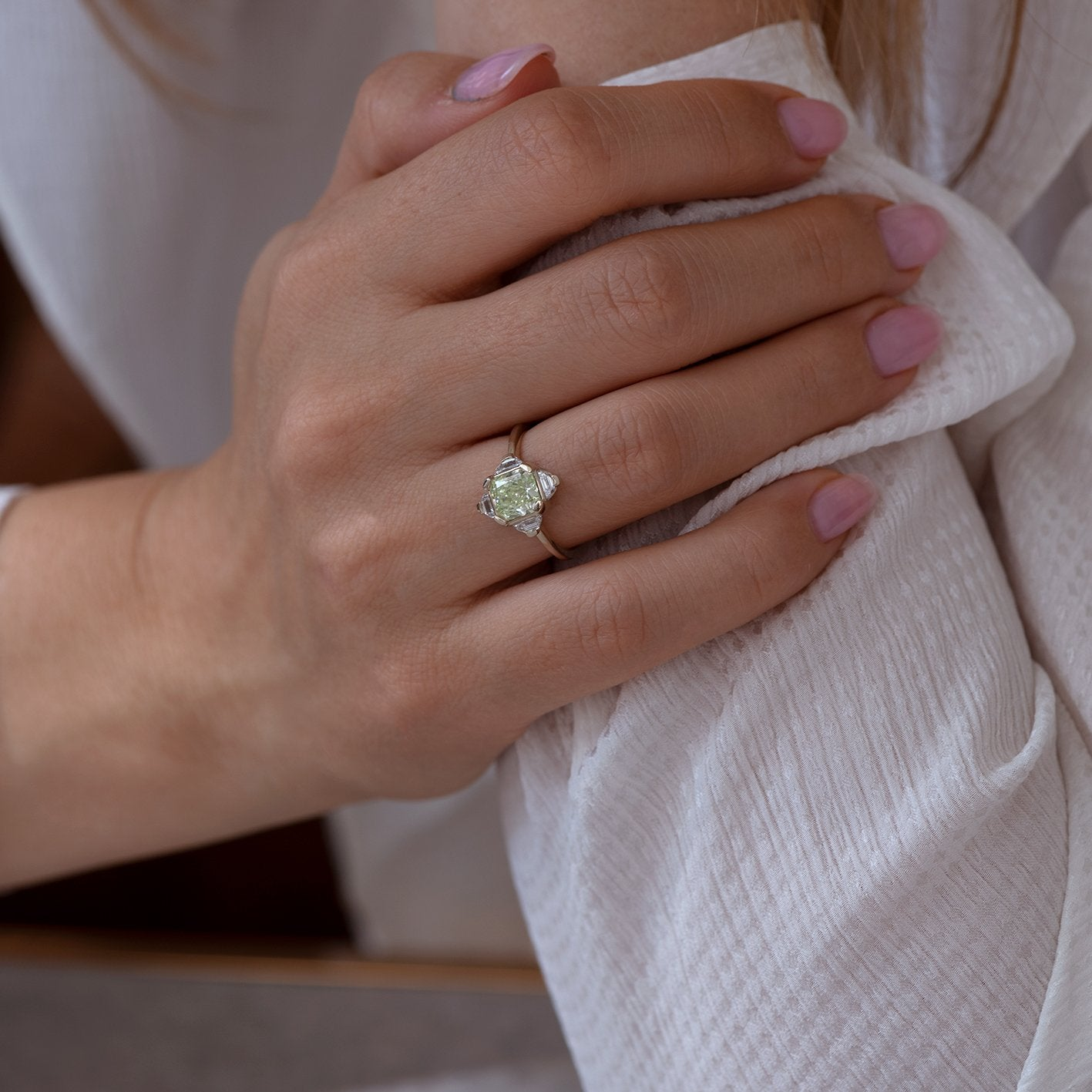 OOAK mint green Pagoda Diamond Ring3