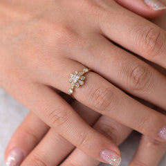 Flower Diamond Engagement Ring hand view