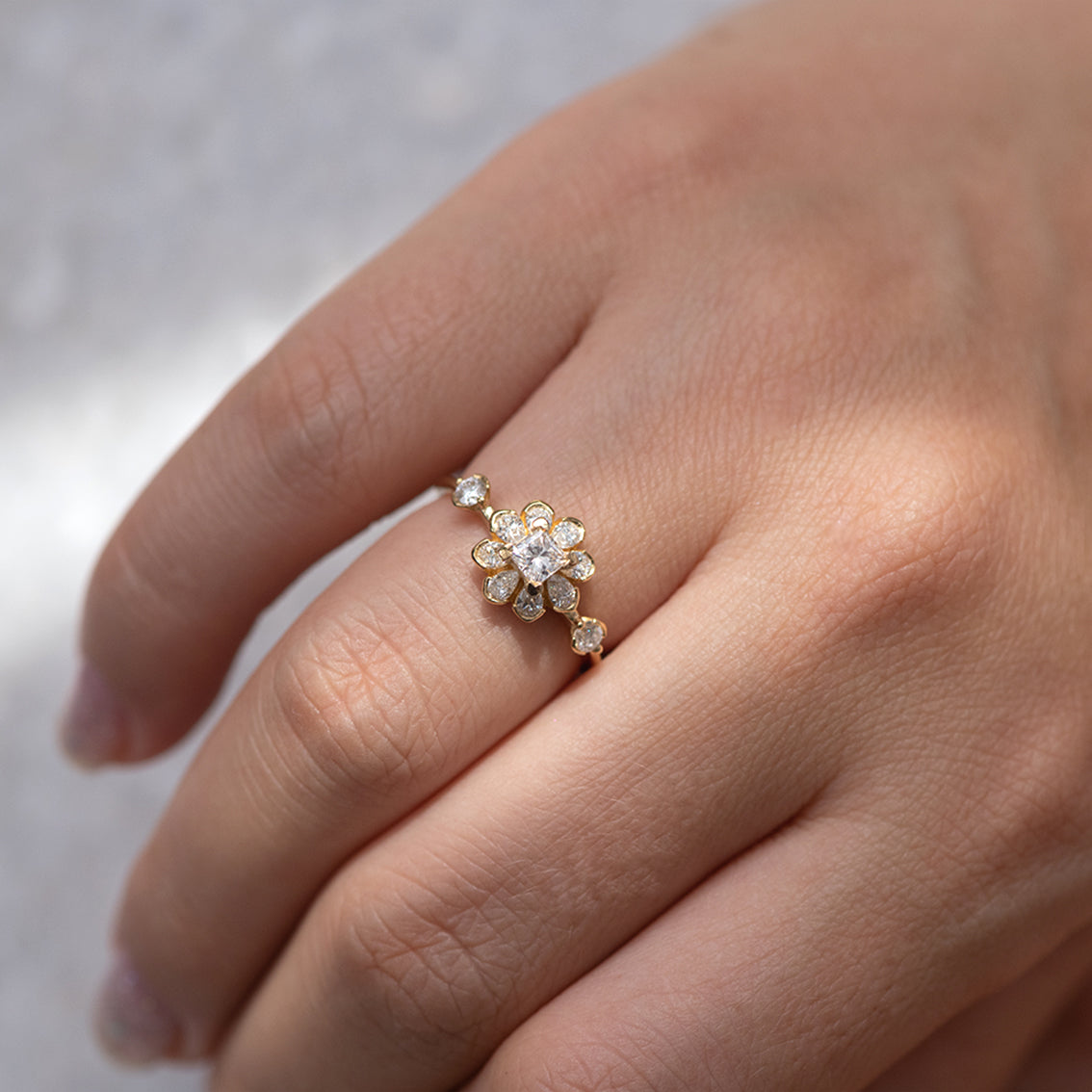 Flower Diamond Engagement Ring on hand