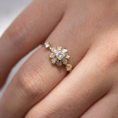 Flower Diamond Engagement Ring with light