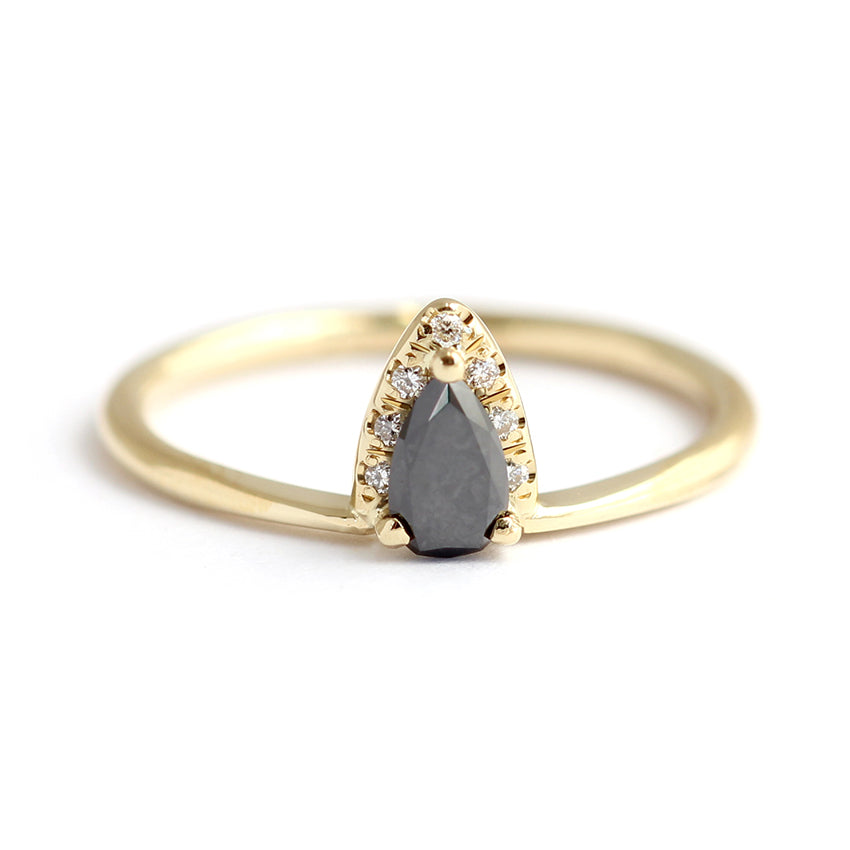 frontal view of Black Diamond Pear Engagement Ring With White Diamond Accents