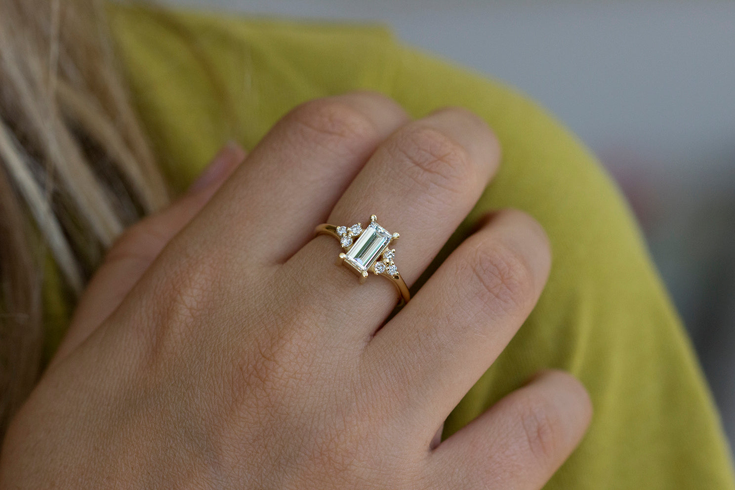 Frontal View Of One Carat Baguette Diamond Engagement Ring On Hand