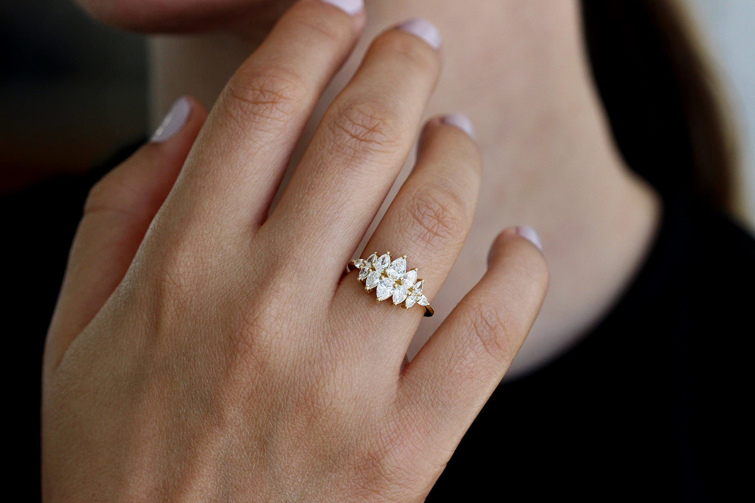 Frontal View Of Pear Diamond Cluster Ring