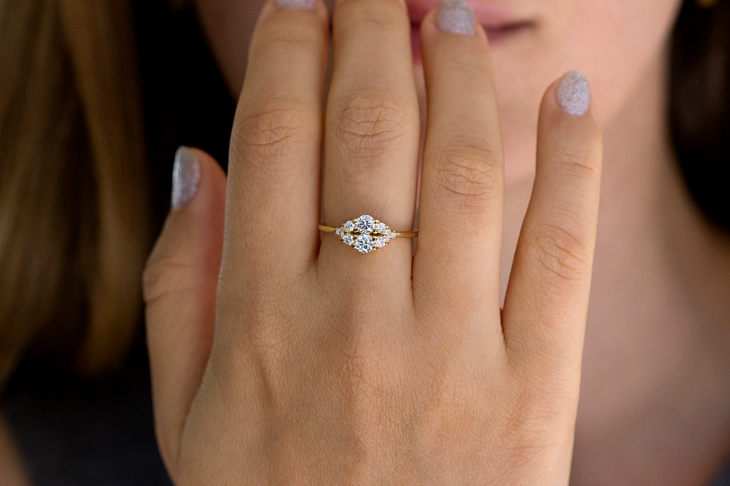 Frontal View Of Round Diamond Cluster Ring